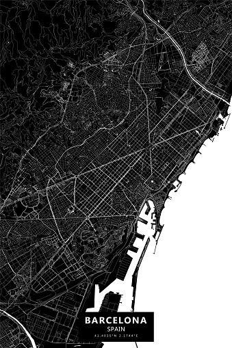 Barcelona, Spain Vector Map