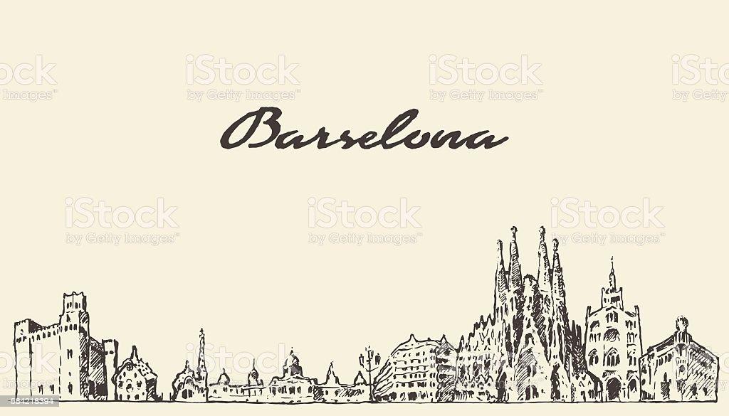 Barcelona Spain vintage hand drawn sketch - ilustración de arte vectorial