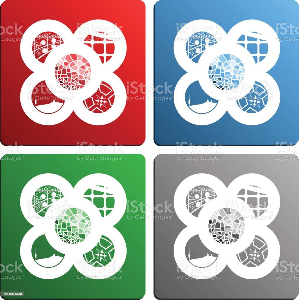 Azulejos de Barcelona incluyendo los símbolos de la ciudad - ilustración de arte vectorial