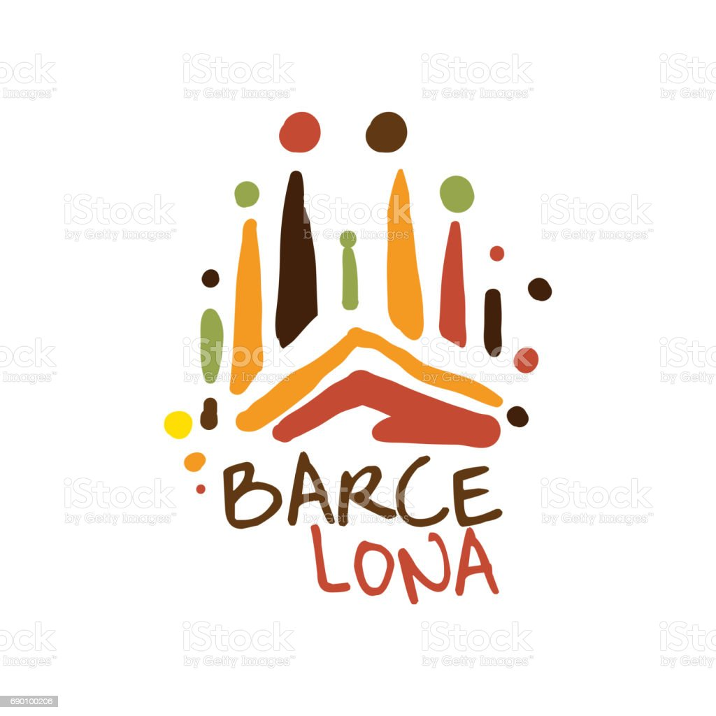 Carte Icom Barcelone.Barcelona Tourism Icon Template Hand Drawn Vector Illustration