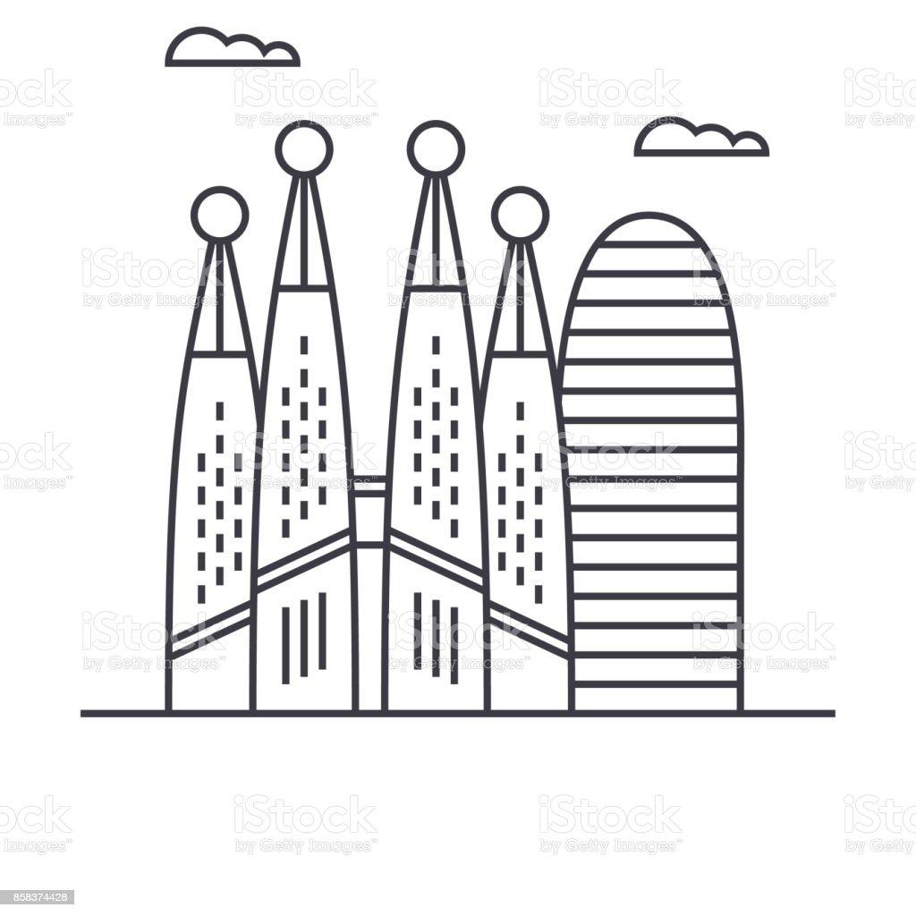 Barcelona vector línea icono, signo, Ilustración de fondo, trazos editables - ilustración de arte vectorial