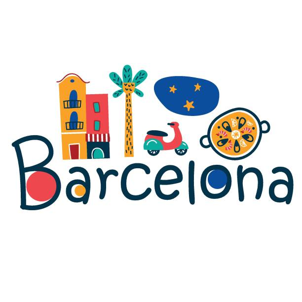 stockillustraties, clipart, cartoons en iconen met barcelona vector logoprint - paella