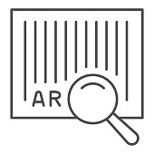 istock Barcode and magnifier thin line icon, logistic and delivery symbol, identification barcode sticker with magnifying glass vector sign on white background, Bar code search icon in outline. Vector. 1223575666