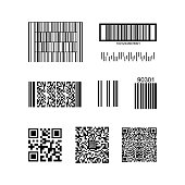 Barcode and QR Code Isolated on a Background. Vector