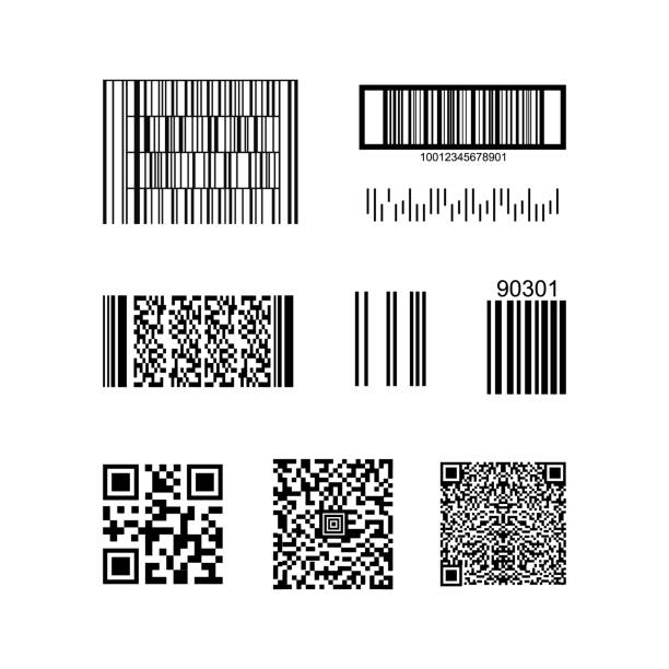 barcode and qr code isolated on a background. vector - kod kreskowy stock illustrations