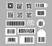 Barcode and QR code vector illustrations set. Various digital bar codes labels and tags design elements collection. Isolated flat vector illustration on grey background.