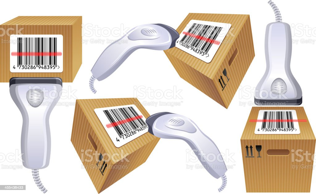 Bar-code box scanner royalty-free stock vector art