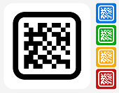 Barcode Icon. This 100% royalty free vector illustration features the main icon pictured in black inside a white square. The alternative color options in blue, green, yellow and red are on the right of the icon and are arranged in a vertical column.