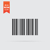 Barcode icon in flat style isolated on grey background.