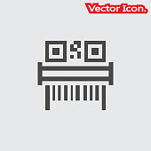 Barcode icon isolated sign symbol and flat style for app, web and digital design.