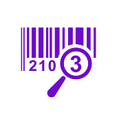 Barcode icon isolated sign symbol with magnifying glass. Flat line style for app, web and digital design – stock vector