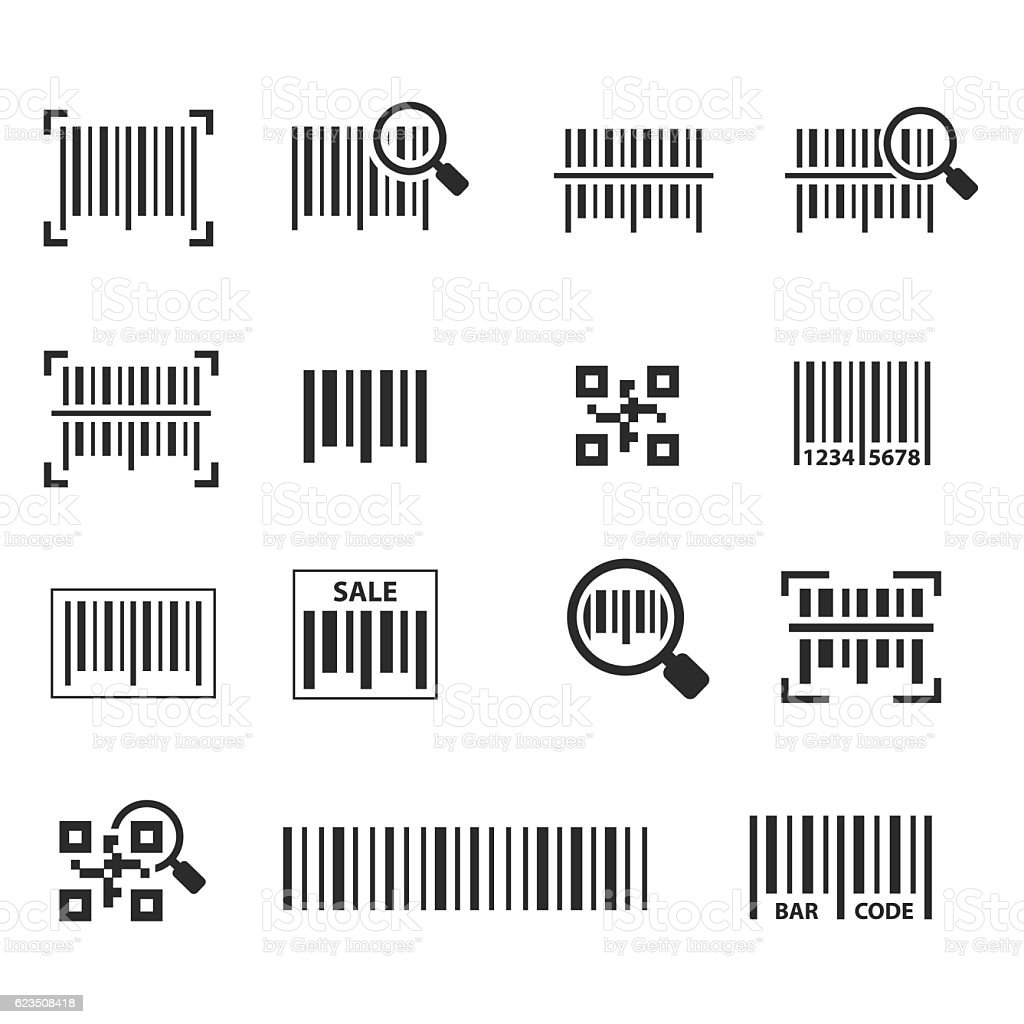 Barcode icon set vector art illustration
