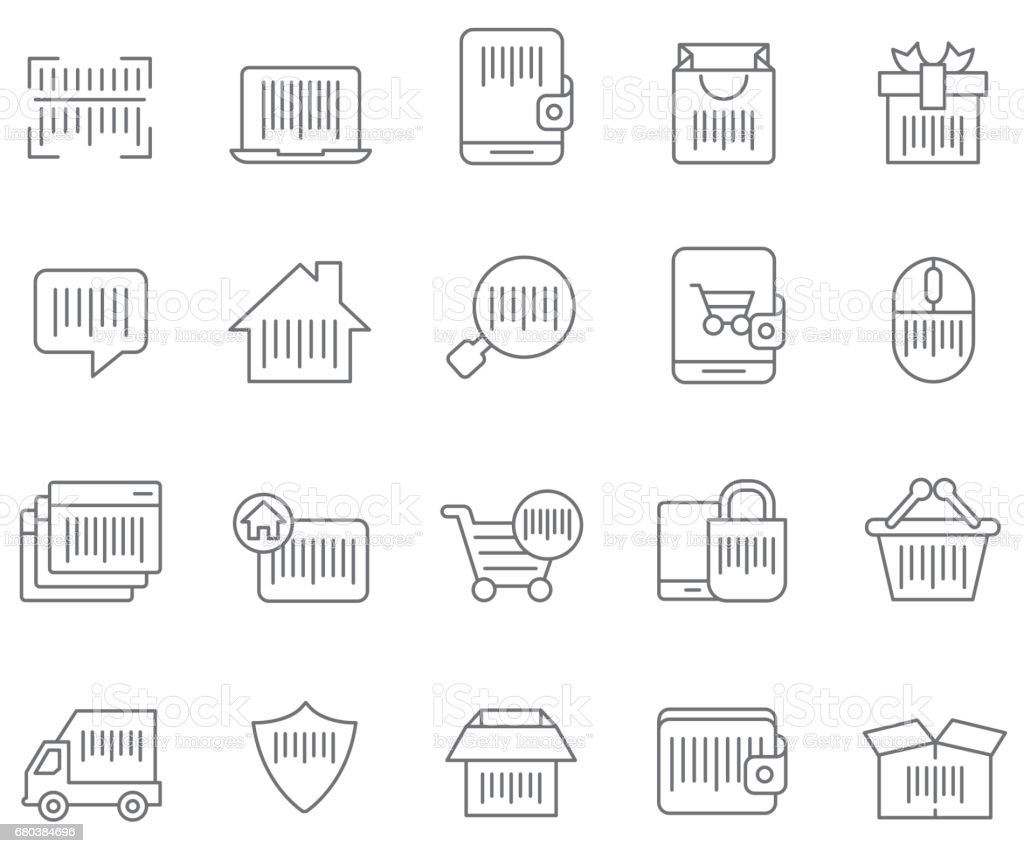 Barcode icon set royalty-free barcode icon set stock vector art & more images of bar code