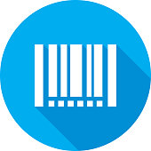 Vector illustration of a blue barcode icon in flat style.