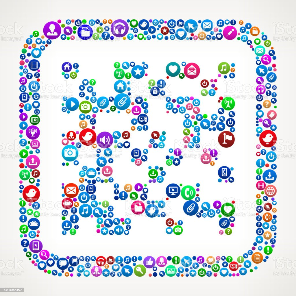 Barcode Internet Communication Technology Icon Pattern vector art illustration