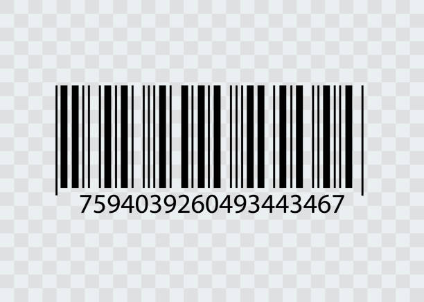 barcode isolated on transparent background. vector icon - kod kreskowy stock illustrations