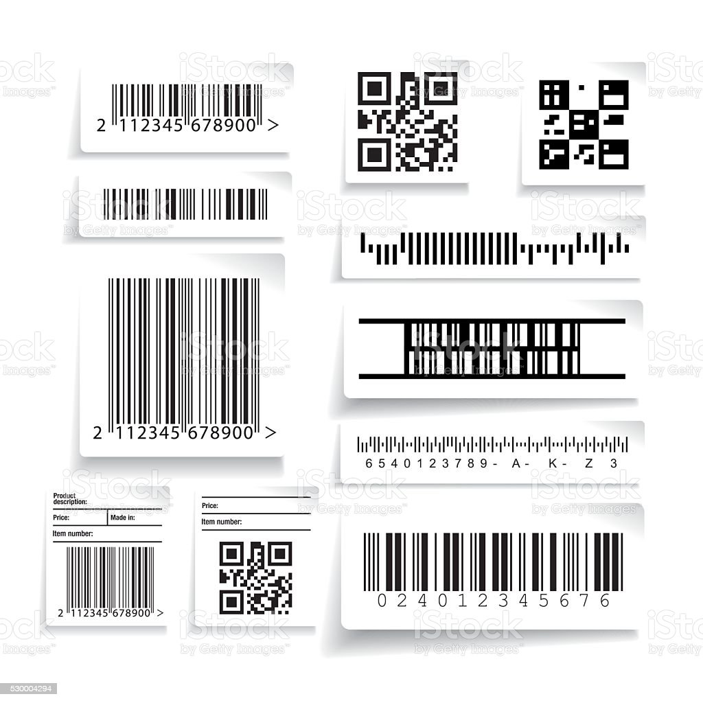Barcode label set vector vector art illustration