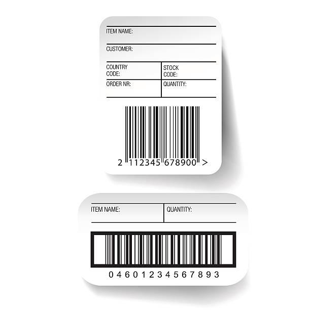 stockillustraties, clipart, cartoons en iconen met barcode label template vector - scheepvaart