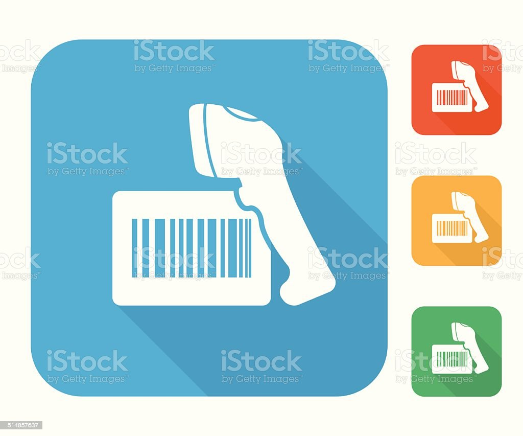 Barcode label with reader icon set vector art illustration