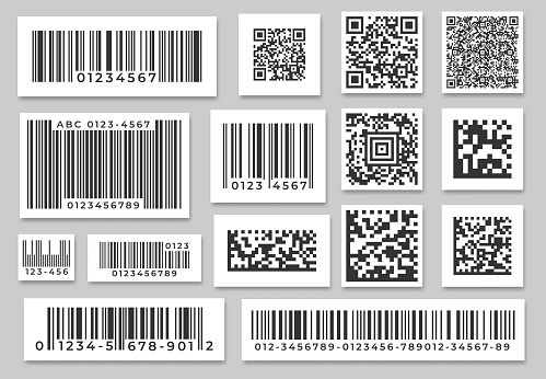 Barcode labels. Code stripes sticker, digital bar label and retail pricing bars labeling stickers. Industrial barcodes vector set
