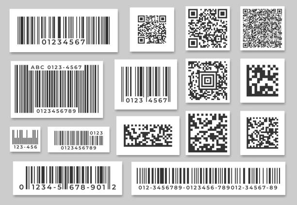 barcode labels. code stripes sticker, digital bar label and retail pricing bars labeling stickers. industrial barcodes vector set - kod kreskowy stock illustrations