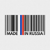 barcode made in russia, vector illustration on transparent background