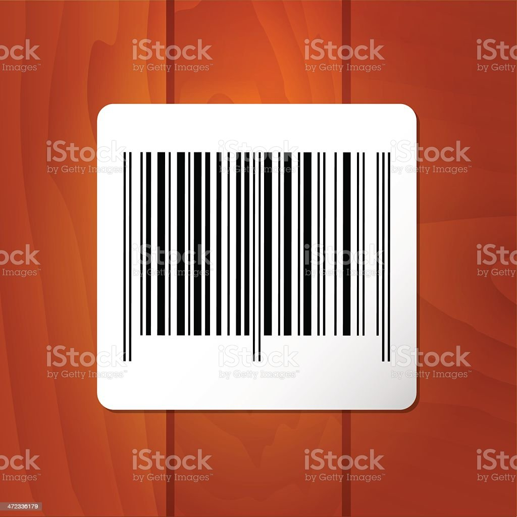 bar-code on wood plank background royalty-free stock vector art