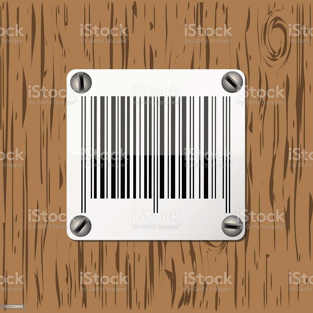 Barcode on wooden background royalty-free stock vector art
