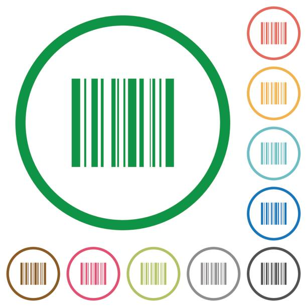 Barcode outlined flat icons vector art illustration