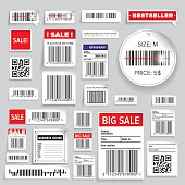 Barcode Packaging business Labels or stickers vector set