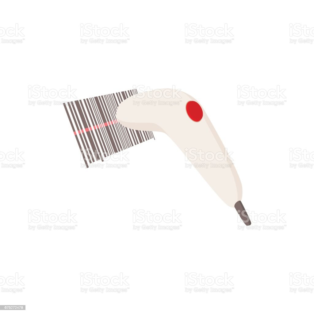 Barcode scanner icon, cartoon style vector art illustration