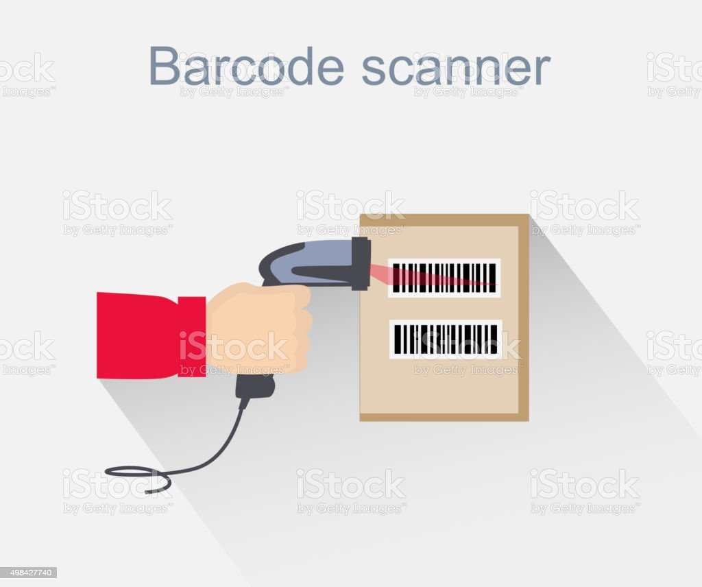 Barcode Scanner Icon Design Style vector art illustration