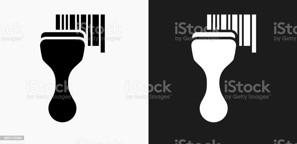 Barcode Scanner Icon On Black And White Vector Backgrounds Royalty Free