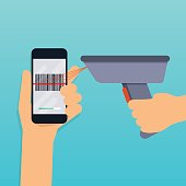 A barcode scanner scanning a bar code on a mobile phone. Flat design modern vector illustration concept.