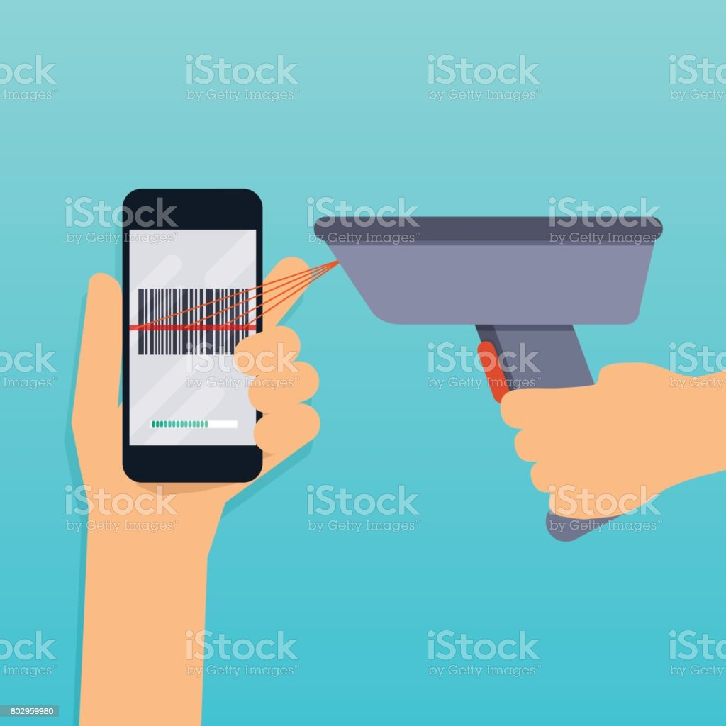A barcode scanner scanning a bar code on a mobile phone. Flat design modern vector illustration concept. vector art illustration