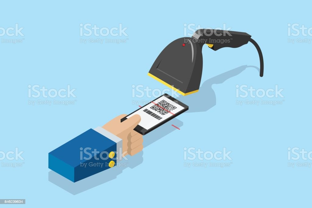 barcode scanner scanning qr code on smartphone for e-payment, technology and business concept - arte vettoriale royalty-free di Abbigliamento elegante