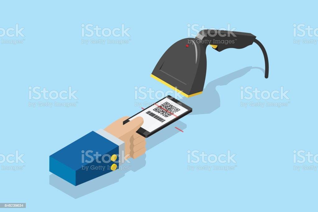 barkod tarayıcı tarama QR kodu e-ödeme, teknoloji ve iş kavramı için Smartphone vektör sanat illüstrasyonu