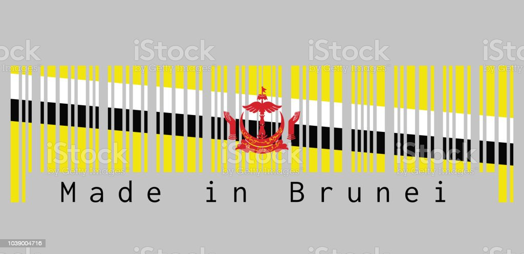 Barcode Set The Color Of Brunei Flag Red Crest On Yellow Field Cut