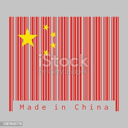 istock Barcode set the color of China flag, red yellow and star in white background. 1087845776