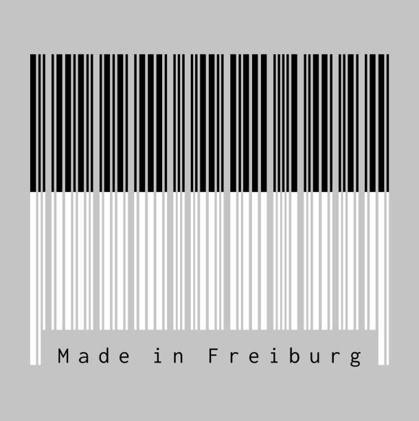 barcode legen sie die farbe der freiburger flagge, der kanton der schweiz mit text made in freiburg. - schwarzwald stock-grafiken, -clipart, -cartoons und -symbole