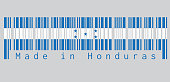 Barcode set the color of Honduras flag, A horizontal triband of blue and white with five blue stars, text: Made in Honduras. concept of sale or business.