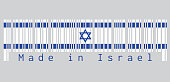Barcode set the color of Israel flag, blue hexagram on a white background, between two blue stripes. text: Made in Israel.