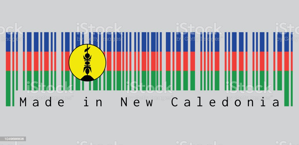 Barcode Set The Color Of New Caledonia Flag Blue Red And Green With