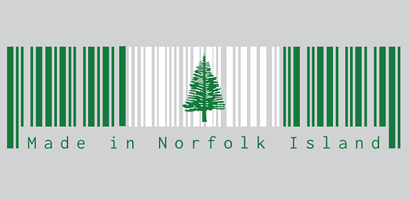 Barcode set the color of Norfolk flag, Norfolk Island Pine in a central white stripe between two green stripes. text: Made in Norfolk Island.