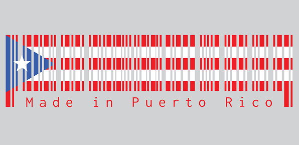 Barcode set the color of Puerto Rico flag, horizontal white and red bands with isosceles triangle based on the hoist side and white star. text: Made in Puerto Rico.