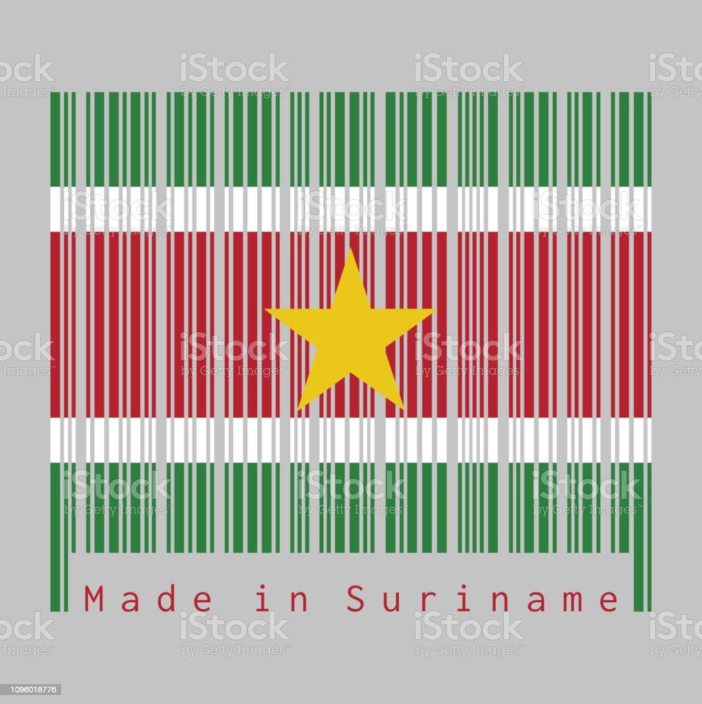 Couleur Avec Du Rouge code À barres définie la couleur du suriname drapeau vert et