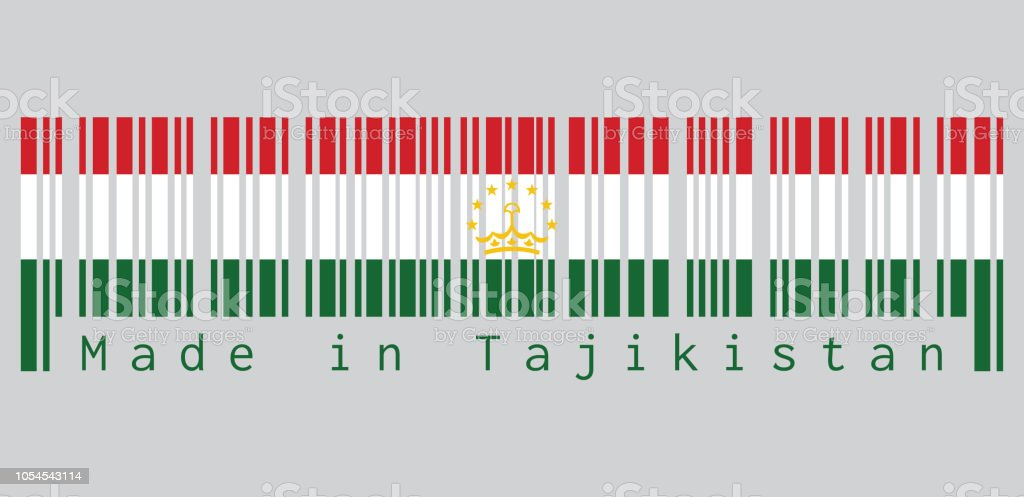 Barcode set the color of Tajikistan flag, red white and green; charged with a crown surmounted by an arc of seven stars. text: Made in Tajikistan. vector art illustration