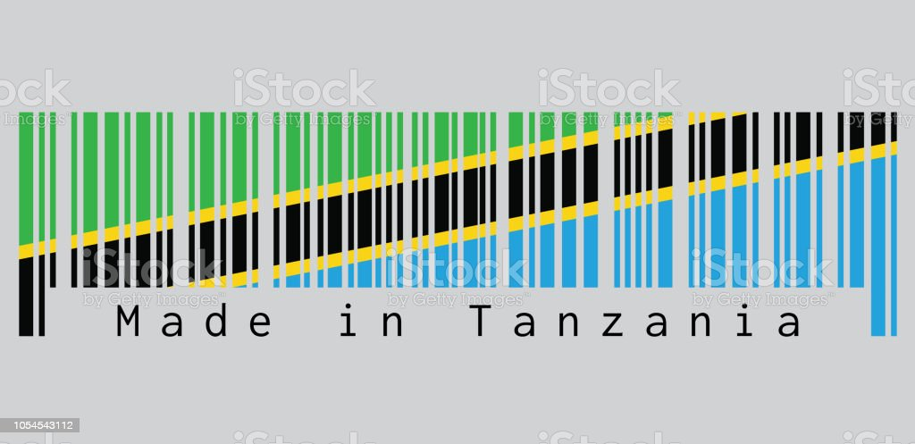 Barcode set the color of Tanzanian flag, A yellow-edged black diagonal band: the green triangle and blue triangle. text: Made in Tanzania. vector art illustration