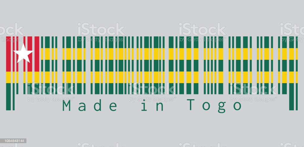 Barcode set the color of Togolese flag, Five equal horizontal bands of green alternating with yellow; with a red canton bearing a white star. text: Made in Togo. vector art illustration