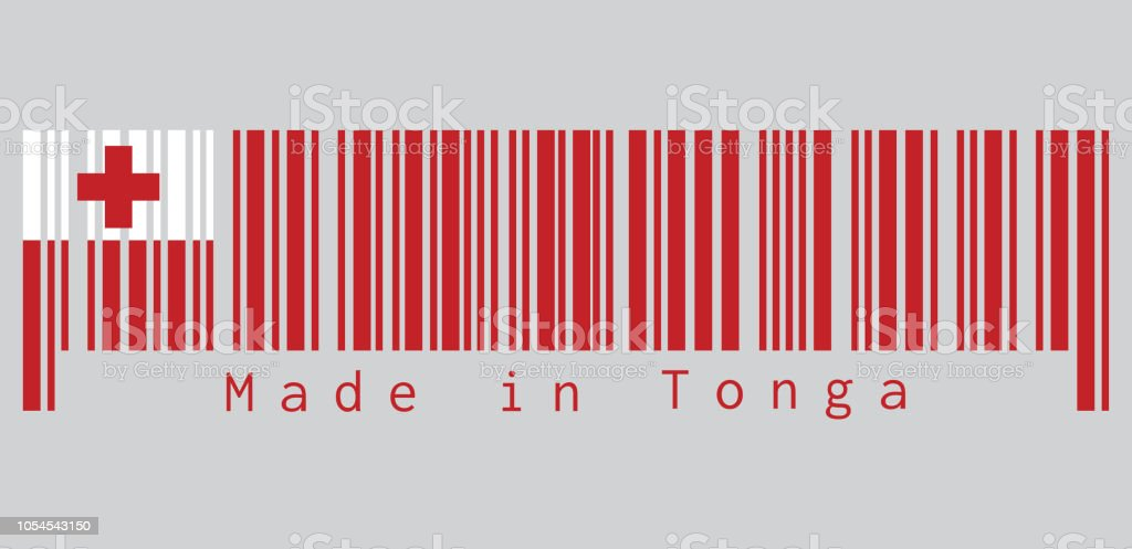 Barcode set the color of Tonga flag, A red field with the white rectangle on the upper hoist-side corner bearing the red Greek Cross. text: Made in Tonga. vector art illustration